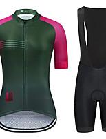 cheap -21Grams Women's Short Sleeve Cycling Jersey with Bib Shorts Summer Spandex Pink+Green Blue+Orange Patchwork Bike Quick Dry Moisture Wicking Sports Patchwork Mountain Bike MTB Road Bike Cycling