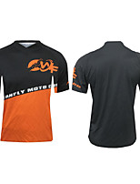 cheap -CAWANFLY Men's Short Sleeve Cycling Jersey Summer Polyester Black / Orange Geometic Funny Bike Tee Tshirt Top Mountain Bike MTB Road Bike Cycling Quick Dry Breathable Sports Clothing Apparel