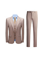 cheap -Men's Wedding Suits 3 pcs Notch Standard Fit Single Breasted One-button Straight Flapped Solid Colored Polyester