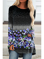 cheap -Women's Floral Theme Painting T shirt Floral Graphic Long Sleeve Print Round Neck Basic Tops Blue Green Red