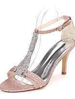 cheap -Women's Wedding Shoes Stiletto Heel Open Toe Wedding Sandals Wedding Gleit Rhinestone Solid Colored Light Purple Champagne White
