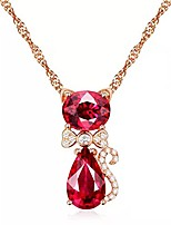 cheap -shuanghua fashion 925 silver jewelry necklace cat shape rose quartz zircon gemstone pendant for women wedding ornaments wholesale