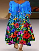 cheap -Women's Swing Dress Maxi long Dress Blue Purple Rainbow Light gray Half Sleeve Print Color Gradient Print Fall Spring Round Neck Elegant Casual 2021 S M L XL XXL 3XL