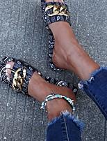 cheap -Women's Sandals Flat Heel Round Toe Rubber PU Color Block Red Blue Black
