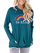 cheap -Women's Painting T shirt Rainbow Graphic Letter Long Sleeve Print Round Neck Basic Vintage Tops Regular Fit Cotton Blushing Pink Green Light gray