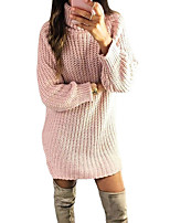 cheap -Women's Sweater Jumper Dress Short Mini Dress Blushing Pink Khaki White Navy Blue Long Sleeve Solid Color Ruched Fall Winter Round Neck Casual 2021 S M L XL XXL