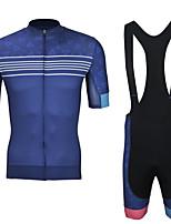 cheap -CAWANFLY Men's Short Sleeve Cycling Jersey with Bib Shorts Summer Blue / Black Bike Sports Geometic Mountain Bike MTB Road Bike Cycling Clothing Apparel / Micro-elastic / Athleisure / Triathlon