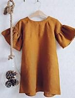 cheap -summer baby girls cotton linen dresses sweet kids falbala sleeve princess clothing children comfortable a-line dress j1616