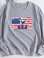 cheap -Women's Pullover Sweatshirt Eagle Flag Print Casual Hot Stamping Casual Hoodies Sweatshirts  Loose Yellow Light Grey White