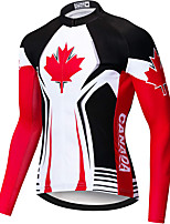 cheap -21Grams Men's Long Sleeve Cycling Jersey Spandex Polyester Black / Red Canada Funny Bike Top Mountain Bike MTB Road Bike Cycling Quick Dry Moisture Wicking Breathable Sports Clothing Apparel