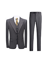 cheap -Men's Wedding Suits 3 pcs Peak Standard Fit Single Breasted Two-buttons Straight Flapped Solid Colored Polyester