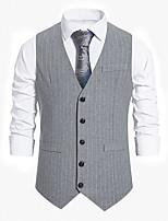 cheap -Men's Vest Gilet Sport Daily Spring Summer Short Coat Regular Fit Quick Dry Lightweight Breathable Casual Jacket Sleeveless Striped Solid Color Pocket Dark Grey Light Grey Black