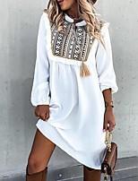 cheap -Women's A Line Dress Knee Length Dress Khaki White Black Long Sleeve Print Patchwork Print Fall Shirt Collar Casual 2021 S M L XL XXL 3XL 4XL 5XL