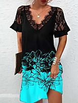 cheap -Women's A Line Dress Knee Length Dress Blushing Pink Gray Green White Red Short Sleeve Floral Print Print Fall V Neck Casual 2021 S M L XL XXL 3XL