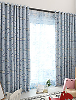 cheap -Two Panel Children's Room Cartoon Style Cloud Shading Printed Curtains For Living Room Study Thermal Insulation Curtains