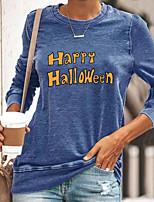 cheap -Women's Halloween Painting T shirt Text Long Sleeve Print Round Neck Basic Halloween Tops Cotton Blue Yellow Gray