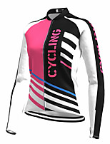 cheap -21Grams Women's Long Sleeve Cycling Jersey Spandex Polyester Rose Red Stripes Color Block Funny Bike Top Mountain Bike MTB Road Bike Cycling Quick Dry Moisture Wicking Breathable Sports Clothing