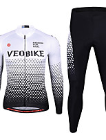 cheap -Men's Long Sleeve Cycling Jersey with Tights Spandex Red Blue White Bike Quick Dry Sports Graphic Mountain Bike MTB Road Bike Cycling Clothing Apparel / Stretchy / Athletic / Athleisure
