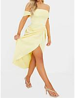 cheap -Sheath / Column Flirty Elegant Party Wear Cocktail Party Dress Off Shoulder Short Sleeve Asymmetrical Charmeuse with Sleek Split 2021