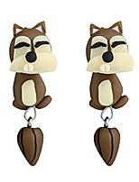 cheap -earrings for girls, cute cartoon biting ears design stud earrings,3d cartoon cute animals dinosaur fox hippo shaped clay piercing women earring mini size ornaments