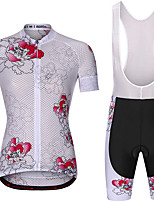 cheap -21Grams Women's Short Sleeve Cycling Jersey with Bib Shorts Summer Spandex White Floral Botanical Bike Quick Dry Moisture Wicking Sports Floral Botanical Mountain Bike MTB Road Bike Cycling Clothing