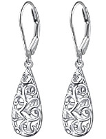 cheap -teardrop filigree dangle drop leverback earrings sterling silver jewelry gifts for women