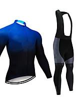 cheap -CAWANFLY Men's Long Sleeve Cycling Jersey with Bib Tights Bule / Black Bike Sports Geometic Mountain Bike MTB Road Bike Cycling Clothing Apparel / Micro-elastic / Athleisure / Triathlon