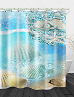 cheap -Beach Shells Print Waterproof Fabric Shower Curtain for Bathroom Home Decor Covered Bathtub Curtains Liner Includes with Hooks