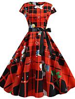 cheap -Santa Suit Audrey Hepburn Dress Swing Dress Adults' Women's Vintage Festival Christmas New Year Festival / Holiday Terylene Red+Black / Black / Orange / Yellow Women's Easy Carnival Costumes / Belt