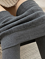 cheap -Women's Basic Casual / Sporty Yoga Comfort Warm Soft Skinny Tights Pants Leggings Fleece Cotton Skinny Casual Daily Pants Solid Color Stripe Full Length Sporty Stripe Patchwork High Waist Light Grey