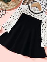 cheap -girl sweet black polka dot long sleeve dress