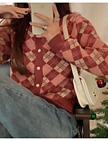 cheap -Women's Cardigan Sweater Modern Style Plaid / Check Casual Long Sleeve Sweater Cardigans V Neck Fall Winter khaki Red