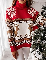 cheap -Women's Christmas Pullover Sweater Jumper Knitted Print Casual Long Sleeve Regular Fit Sweater Cardigans Turtleneck Fall Winter Green off-white Red