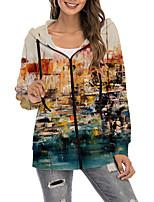 cheap -Women's Hoodie Zip Up Hoodie Sweatshirt Abstract 3D Oil Painting Zipper Print Sports Holiday 3D Print Active Streetwear Hoodies Sweatshirts  Blue