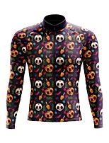 cheap -21Grams Men's Long Sleeve Cycling Jersey Spandex Polyester Purple 3D Skull Funny Bike Top Mountain Bike MTB Road Bike Cycling Quick Dry Moisture Wicking Breathable Sports Clothing Apparel / Stretchy