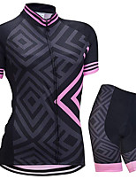 cheap -21Grams Women's Short Sleeve Cycling Jersey with Shorts Summer Spandex Black Bike Quick Dry Moisture Wicking Sports Geometric Mountain Bike MTB Road Bike Cycling Clothing Apparel / Stretchy