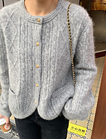 cheap -Women's Pullover Sweater Modern Style Solid Color Casual Long Sleeve Sweater Cardigans V Neck Fall Winter Grey Beige