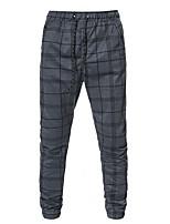 cheap -Men's Athleisure Sports Outdoor Sports Pants Sweatpants Slim Casual Sports Pants Lattice Full Length Patchwork Print Dark Gray / Drawstring / Elasticity