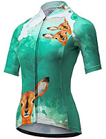 cheap -21Grams Women's Short Sleeve Cycling Jersey Summer Spandex Polyester Green Funny Bike Top Mountain Bike MTB Road Bike Cycling Quick Dry Moisture Wicking Breathable Sports Clothing Apparel / Stretchy