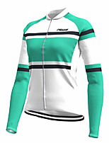 cheap -21Grams Women's Long Sleeve Cycling Jersey Spandex Green Color Block Bike Top Mountain Bike MTB Road Bike Cycling Quick Dry Moisture Wicking Sports Clothing Apparel / Stretchy / Athleisure