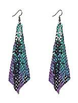 cheap -metal mesh grid sequins tassel long drop dangle earrings for women girls trendy lightweight charms disco vintage colorful long hook earrings bridal wedding jewelry (colorful metal mesh)