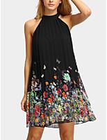 cheap -Women's A Line Dress Short Mini Dress Black Sleeveless Butterfly Layered Hollow Out Print Spring Summer High Neck Active Casual 2021 S M L XL