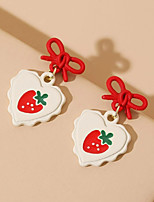 cheap -Women's Drop Earrings Earrings Classic Wedding Birthday Stylish Simple Romantic Holiday Sweet Earrings Jewelry Red For Gift Formal Date Beach Festival 1 Pair