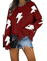 cheap -Women's Pullover Sweater Modern Style Lightning Casual Distressed Long Sleeve Sweater Cardigans Round Neck Fall Winter khaki White Black / Holiday
