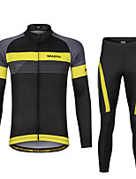 cheap -Men's Long Sleeve Cycling Jersey with Bib Tights Cycling Jersey with Tights Triathlon Tri Suit Summer Spandex Black / Yellow Black Black+White Bike UV Resistant Quick Dry Sports Lines / Waves