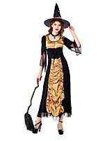cheap -Witch Uniforms Dress Cosplay Costume Adults' Women's Halloween Halloween Halloween Masquerade Festival / Holiday Terylene Black Women's Easy Carnival Costumes Solid Color / Bonnet