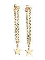 cheap -gold star drop chain stud earrings | dainty jewelry