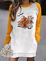 cheap -Women's Shift Dress Short Mini Dress Yellow Black Red Long Sleeve Print Pocket Print Fall Winter Round Neck Casual Halloween 2021 S M L XL XXL 3XL