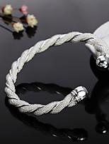 cheap -Women's Bracelet Bangles Cuff Bracelet Geometrical Precious Fashion Copper Bracelet Jewelry Silver For Christmas Party Wedding Daily Work / Silver Plated