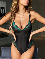 cheap -Women's Sexy Bodies Bodysuits Home Spa Transparent Stripe Spandex Ultra Slim Hot See Through Summer Straps Sleeveless Buckle Without Lining / 1 pc